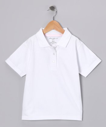 Eddie Bauer White Scallop Polo - Girls