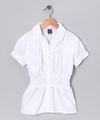 U.S. Polo Assn. White Smocked Blouse - Girls