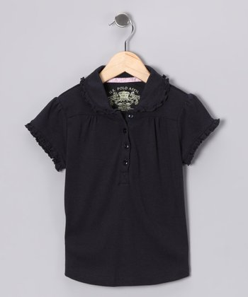 U.S. Polo Assn. Navy Ruffle Polo - Girls
