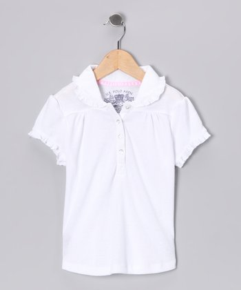 U.S. Polo Assn. White Ruffle Polo - Girls