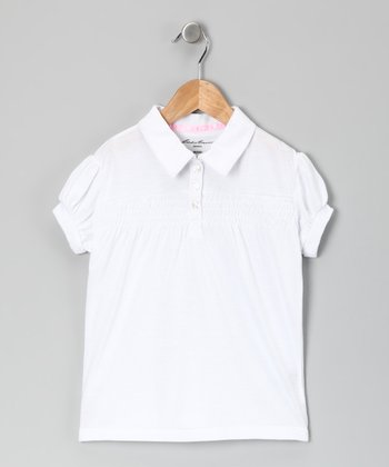 Eddie Bauer White Smocked Polo - Girls