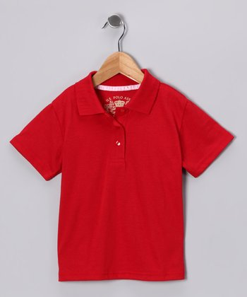 U.S. Polo Assn. Red Scallop Polo - Girls