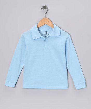 Light Blue Long-Sleeve Polo - Boys