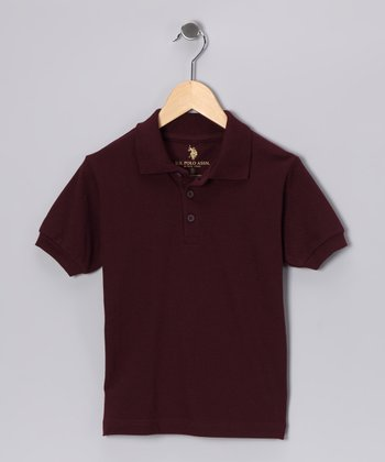 Burgundy Banded Polo - Boys