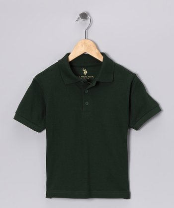Hunter Green Banded Polo - Boys