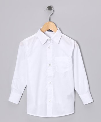 White Long-Sleeve Button-Up - Boys