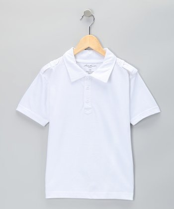White Shoulder Strap Polo - Boys