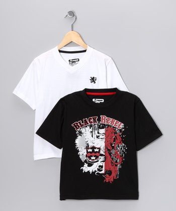 Black & White 'Rebel' Tee Set - Boys