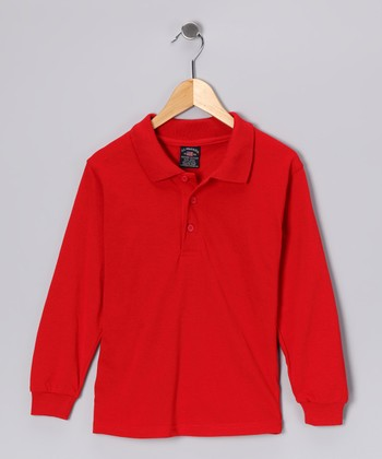 Red Long-Sleeve Polo - Boys