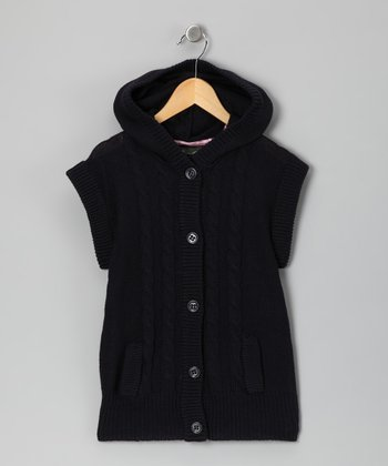 Eddie Bauer Navy Short-Sleeve Cardigan - Girls