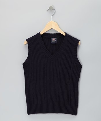 Eddie Bauer Navy Sweater Vest - Boys