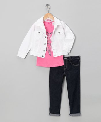White Dream Catcher Jacket Set - Toddler & Girls