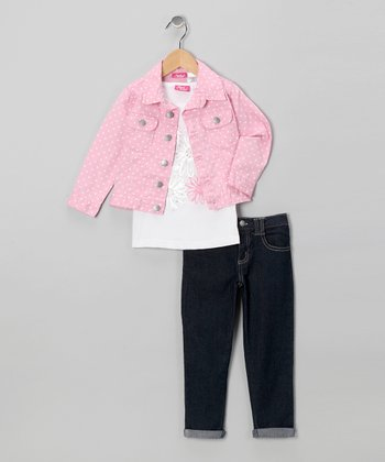 Pink Flower Jacket Set - Infant, Toddler & Girls