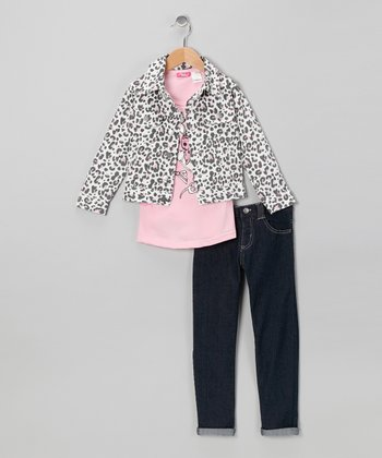 Pink Bow Jacket Set - Girls