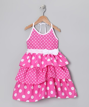Pink Polka Dot Tiered Dress - Girls