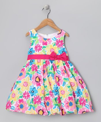 Rainbow Floral Babydoll Dress - Infant
