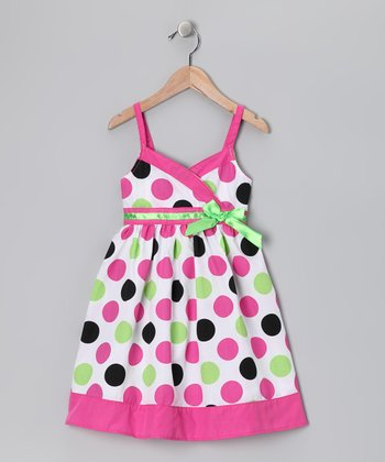 Pink & Green Polka Dot Dress & Coat - Toddler