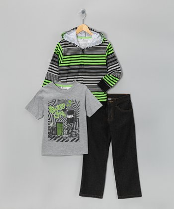 Green Stripe Zip-Up Hoodie Set - Infant, Toddler & Boys