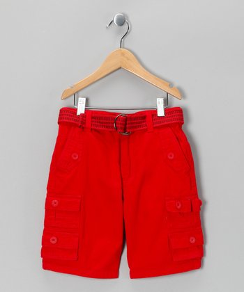 Red American Hawk Shorts - Boys