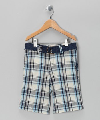 White Plaid American Hawk Shorts - Boys