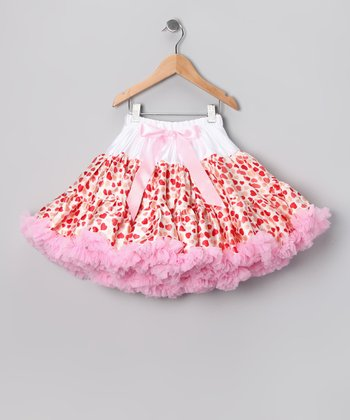White & Light Pink Heart Pettiskirt - Infant, Toddler & Girls
