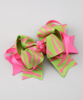 Hot Pink & Lime Zebra Clip