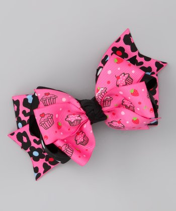 Pink Cupcake Triple Layer Bow Clip