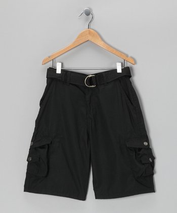 Black Snap Pocket Belted Cargo Shorts - Boys