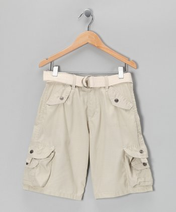 Stone Snap Pocket Belted Cargo Shorts - Boys