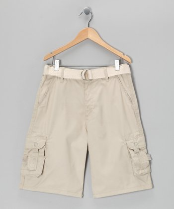 Stone Double Pocket Belted Cargo Shorts - Boys