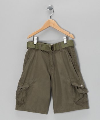 Olive Mini Pocket Belted Cargo Shorts - Boys