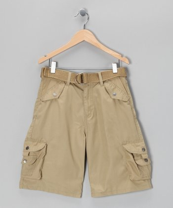 Khaki Snap Pocket Belted Cargo Shorts - Boys