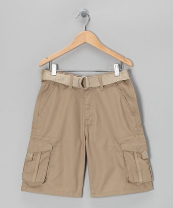 British Khaki Stripe Cargo Shorts - Boys