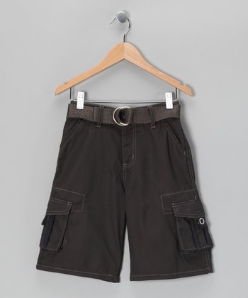 Gray Mini Pocket Cargo Shorts - Boys