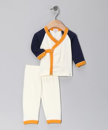 Cream & Navy Wrap Top & Pants - Infant