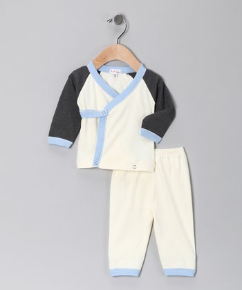 Loralin Design Cream & Gray Wrap Top & Pants - Infant