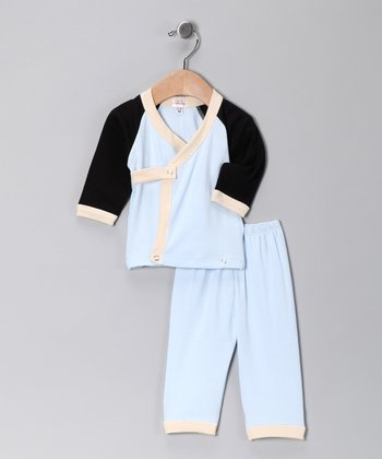 Blue & Black Wrap Top & Pants - Infant