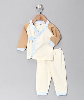 Cream & Blue Wrap Top & Pants - Infant