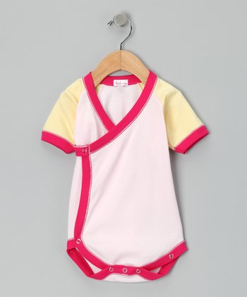 Light Pink & Yellow Wrap Bodysuit - Infant