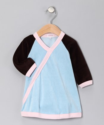 Brown & Pink Velour Surplice Dress - Infant
