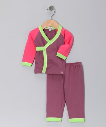 Purple & Pink Wrap Top & Pants - Infant
