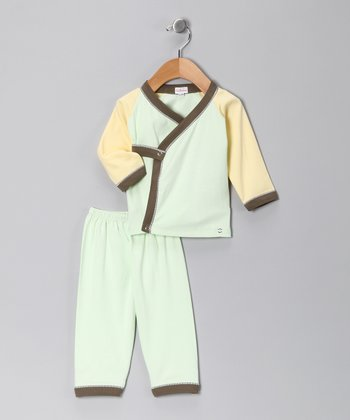 Green & Yellow Wrap Top & Pants - Infant