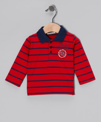 Red & Navy Stripe Knit Polo - Infant