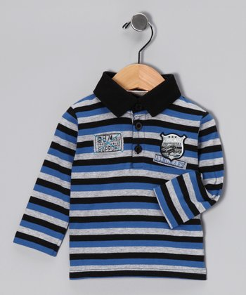 Navy & Gray Stripe Knit Polo - Infant