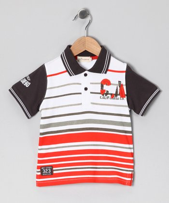 Gray & Orange Stripe Polo - Toddler & Boys