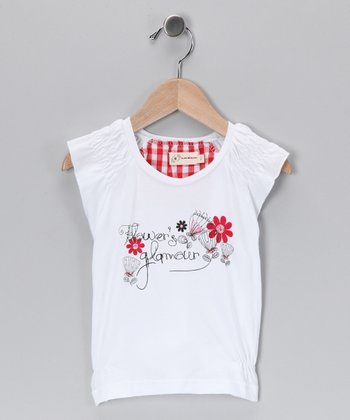 White Vintage Flower Top - Toddler & Girls