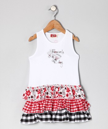 White & Red 'Flower's Day' Tiered Dress - Girls