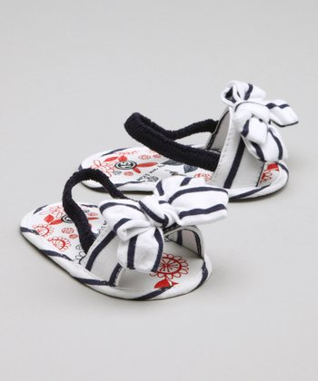 White Stripe Bow Sandal