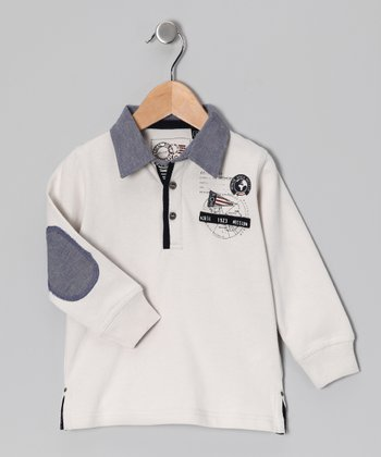 Cream & Blue Knit Polo - Toddler & Boys