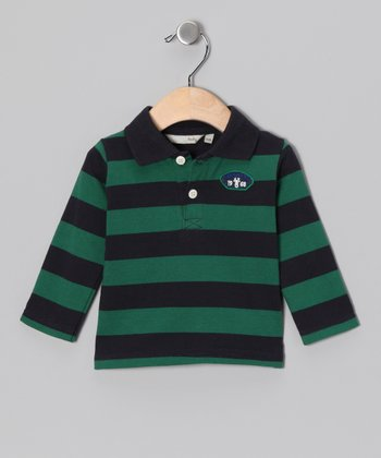 Navy & Green Stripe Knit Polo - Infant
